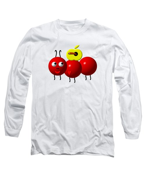 Cute Ant With An Apple Long Sleeve T-Shirt by Rose Santuci-Sofranko