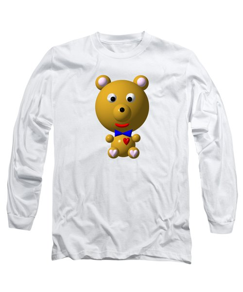 Cute Bear With Bow Tie Long Sleeve T-Shirt by Rose Santuci-Sofranko