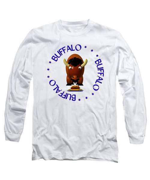 Cute Buffalo With Beef On Weck And Buffalo Wings Long Sleeve T-Shirt by Rose Santuci-Sofranko