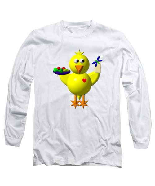 Cute Canary With Salad And Milk Long Sleeve T-Shirt by Rose Santuci-Sofranko