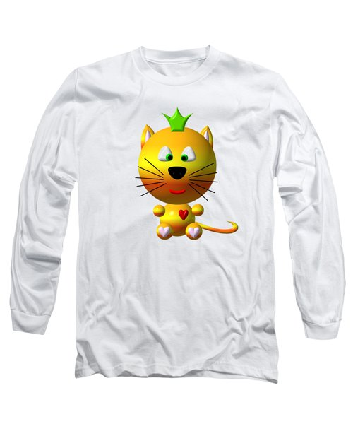 Cute Cat With Crown Long Sleeve T-Shirt by Rose Santuci-Sofranko