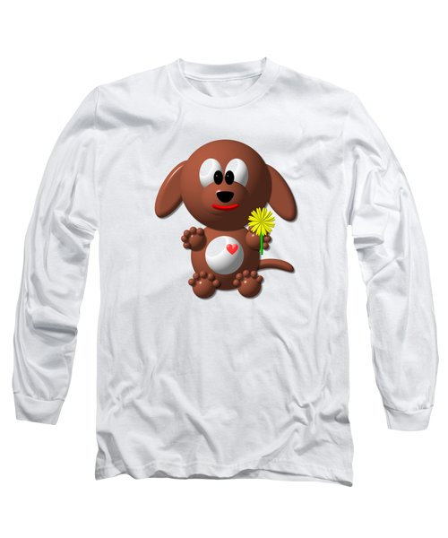 Cute Dog With Dandelion Long Sleeve T-Shirt