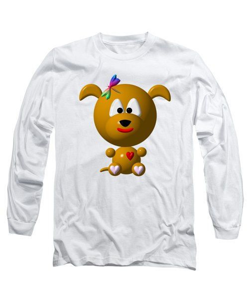 Cute Dog With Dragonfly Long Sleeve T-Shirt by Rose Santuci-Sofranko