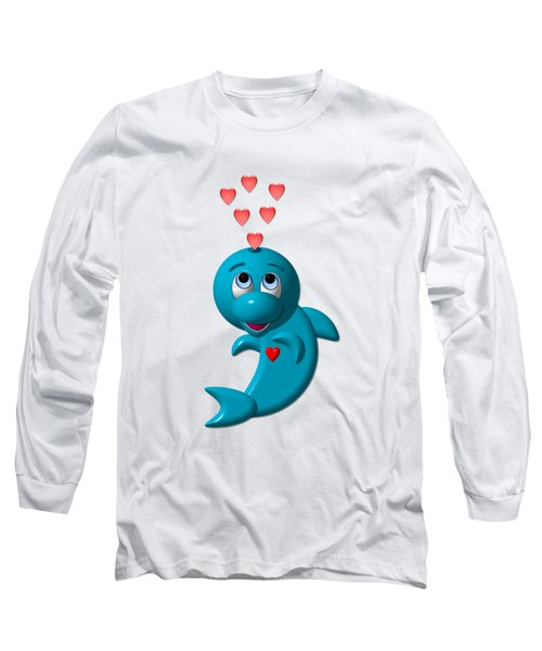 Cute Dolphin With Hearts Long Sleeve T-Shirt by Rose Santuci-Sofranko