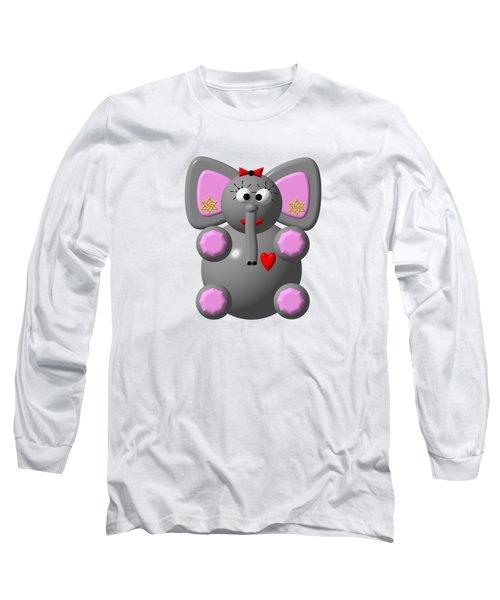 Cute Elephant Wearing Earrings Long Sleeve T-Shirt by Rose Santuci-Sofranko