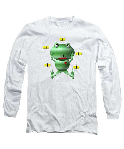 Cute Frog With Flies Long Sleeve T-Shirt by Rose Santuci-Sofranko