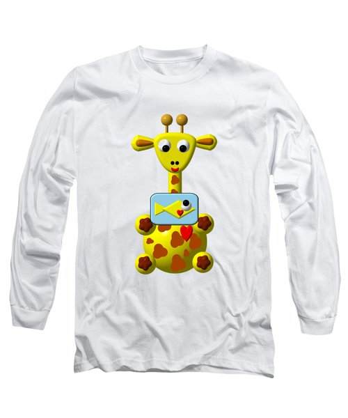 Cute Giraffe With Goldfish Long Sleeve T-Shirt by Rose Santuci-Sofranko
