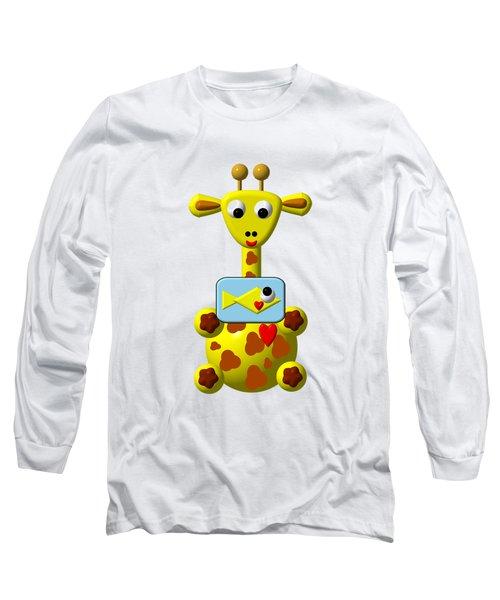 Cute Giraffe With Goldfish Long Sleeve T-Shirt