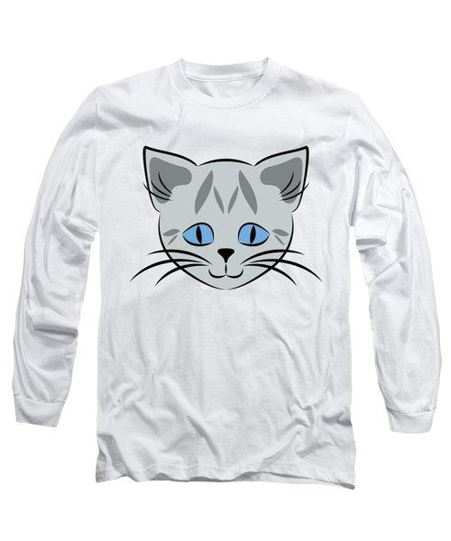 Cute Gray Tabby Cat Face Long Sleeve T-Shirt