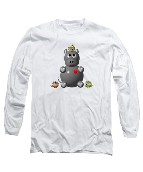 Cute Hippo With Hamsters Long Sleeve T-Shirt