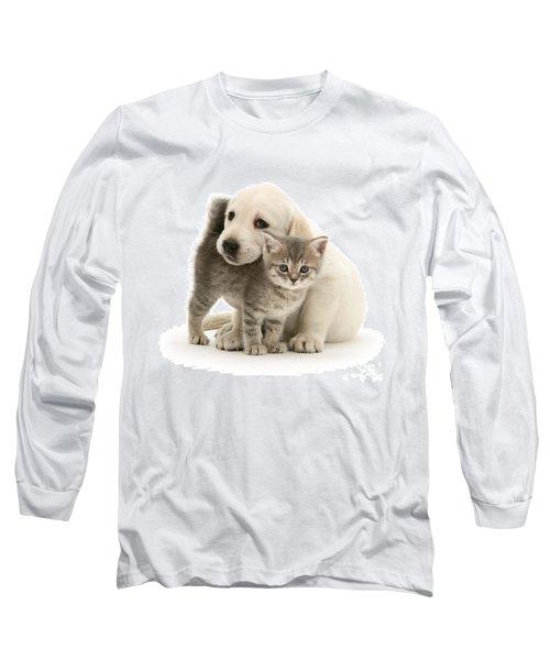 Cute Kitten And Perfect Puppy Long Sleeve T-Shirt