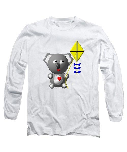 Cute Koala With Kite Long Sleeve T-Shirt by Rose Santuci-Sofranko