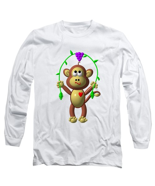 Cute Monkey Jumping Rope Long Sleeve T-Shirt by Rose Santuci-Sofranko
