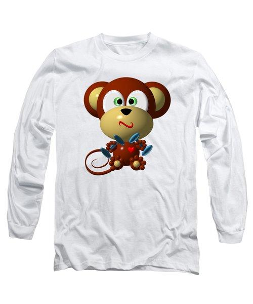 Cute Monkey Lifting Weights Long Sleeve T-Shirt