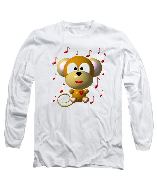 Cute Musical Monkey Long Sleeve T-Shirt by Rose Santuci-Sofranko