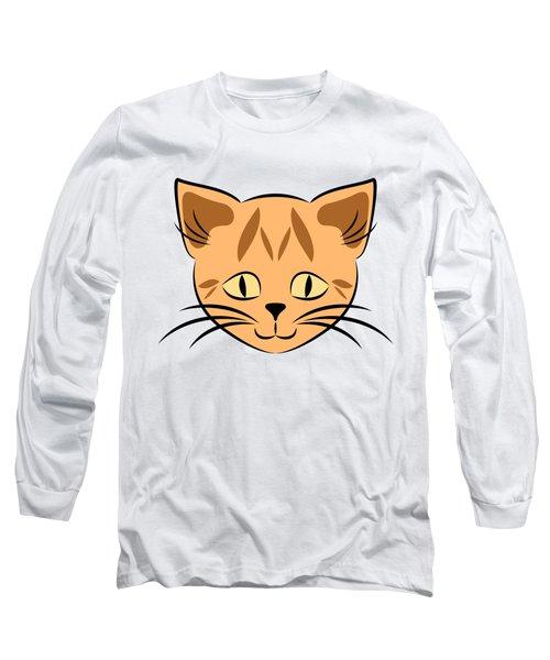 Cute Orange Tabby Cat Face Long Sleeve T-Shirt