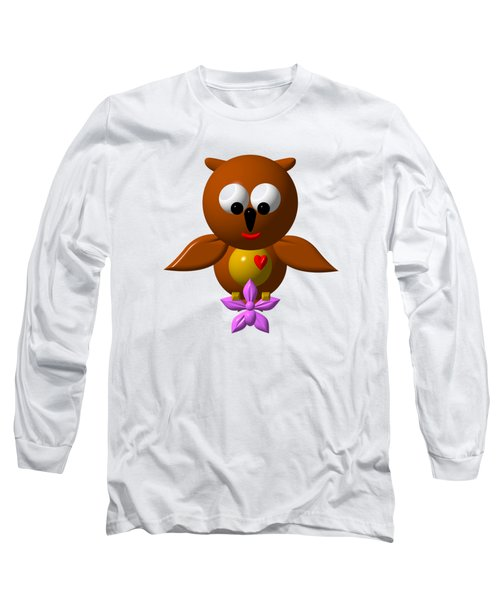 Cute Owl With Orchid Long Sleeve T-Shirt