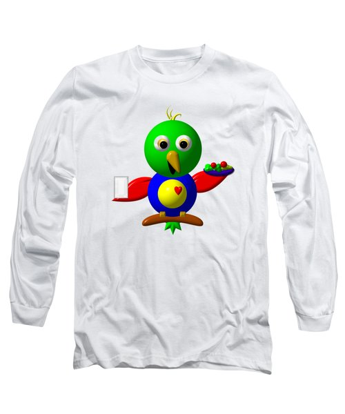 Cute Parrot With Healthy Salad And Milk Long Sleeve T-Shirt by Rose Santuci-Sofranko