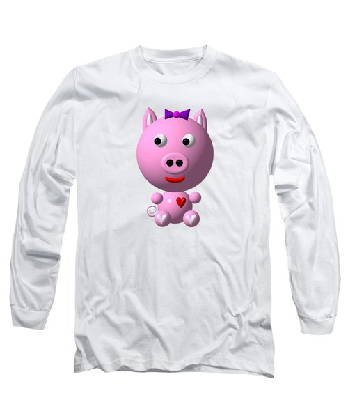 Cute Pink Pig With Purple Bow Long Sleeve T-Shirt by Rose Santuci-Sofranko