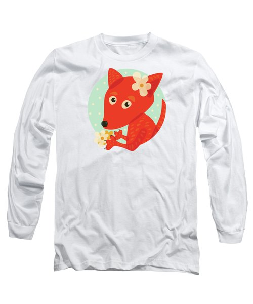 Cute Pretty Fox With Flowers Long Sleeve T-Shirt