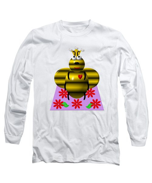 Cute Queen Bee On A Quilt Long Sleeve T-Shirt by Rose Santuci-Sofranko