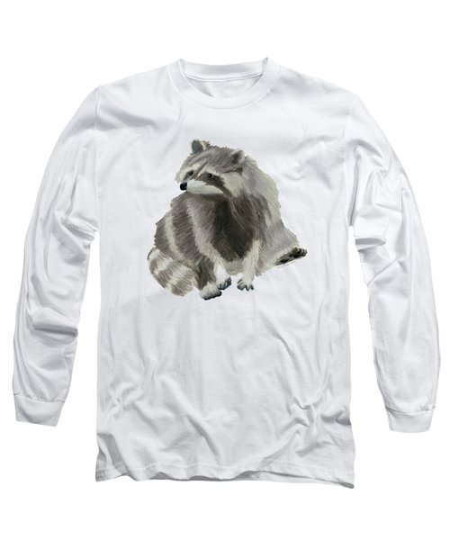 Cute Raccoon Long Sleeve T-Shirt by Dominic White