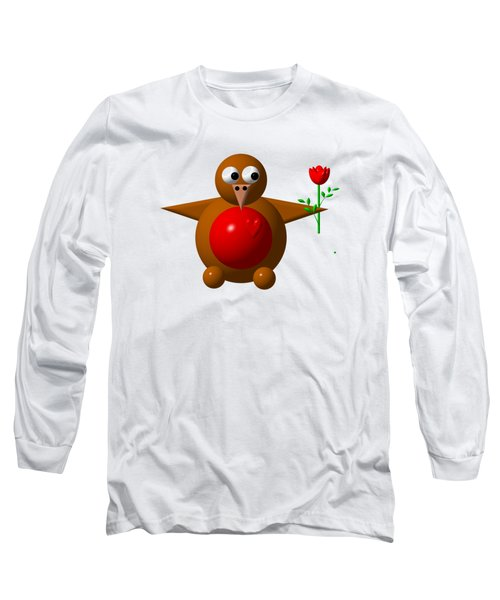 Cute Robin With Rose Long Sleeve T-Shirt by Rose Santuci-Sofranko