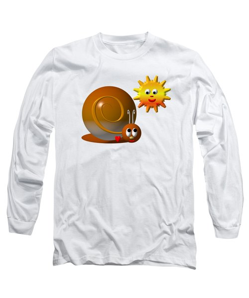 Cute Snail With Smiling Sun Long Sleeve T-Shirt by Rose Santuci-Sofranko