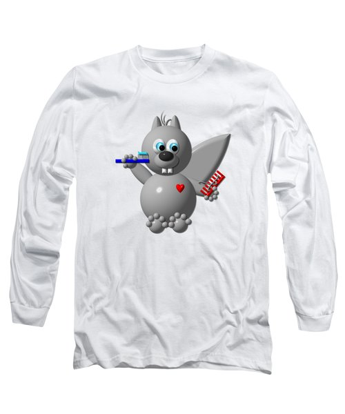 Cute Squirrel Brushing It's Hair And Teeth Long Sleeve T-Shirt by Rose Santuci-Sofranko