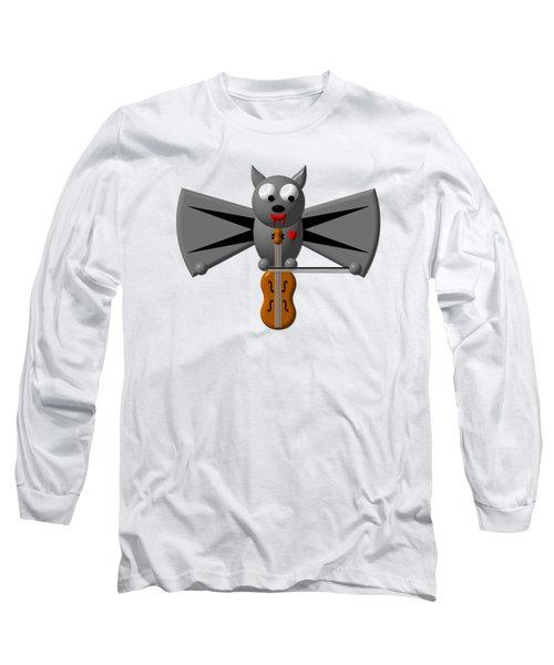 Cute Vampire Bat With Violin Long Sleeve T-Shirt