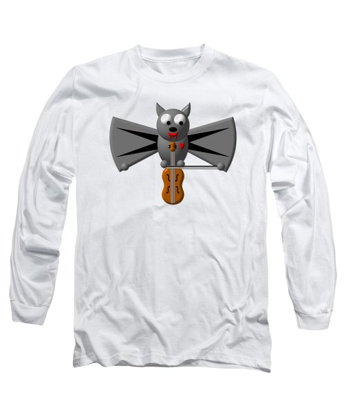 Long Sleeve T-Shirt featuring the digital art Cute Vampire Bat With Violin by Rose Santuci-Sofranko