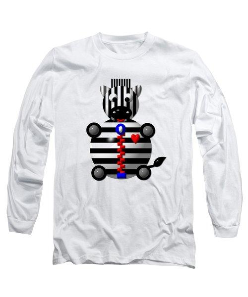 Cute Zebra With A Zipper Long Sleeve T-Shirt by Rose Santuci-Sofranko