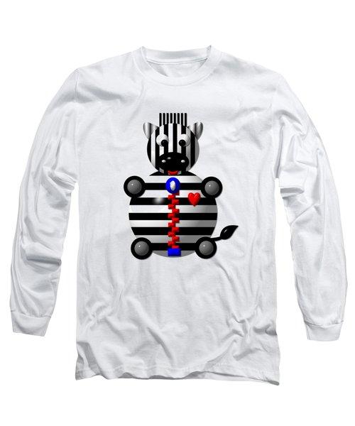 Cute Zebra With A Zipper Long Sleeve T-Shirt