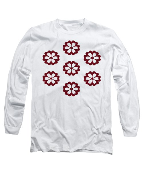 Long Sleeve T-Shirt featuring the digital art Cyber Flower Red by Daniel Hagerman