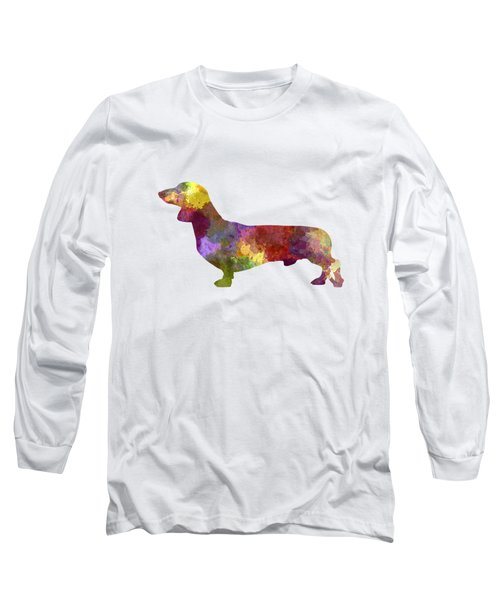 Dachshund In Watercolor Long Sleeve T-Shirt by Pablo Romero