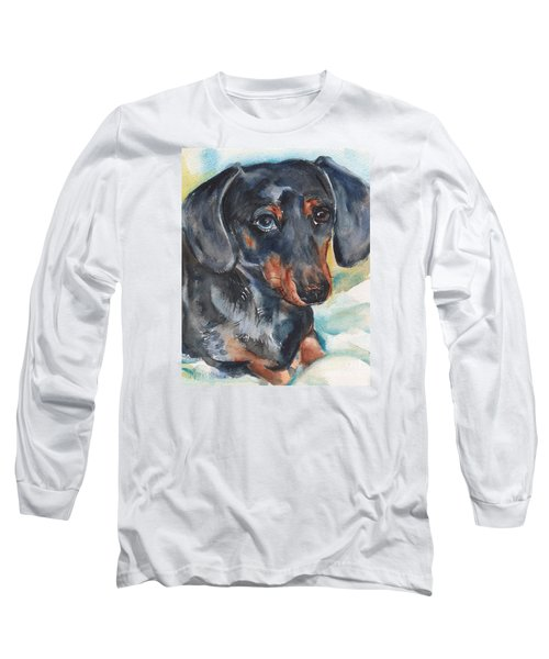 Dachshund Portrait In Watercolor Long Sleeve T-Shirt by Maria's Watercolor