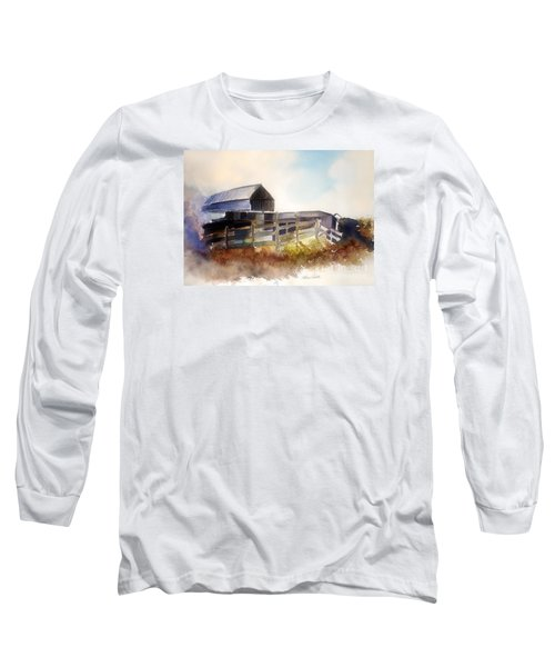 Long Sleeve T-Shirt featuring the painting Dad' Farmhouse by Allison Ashton