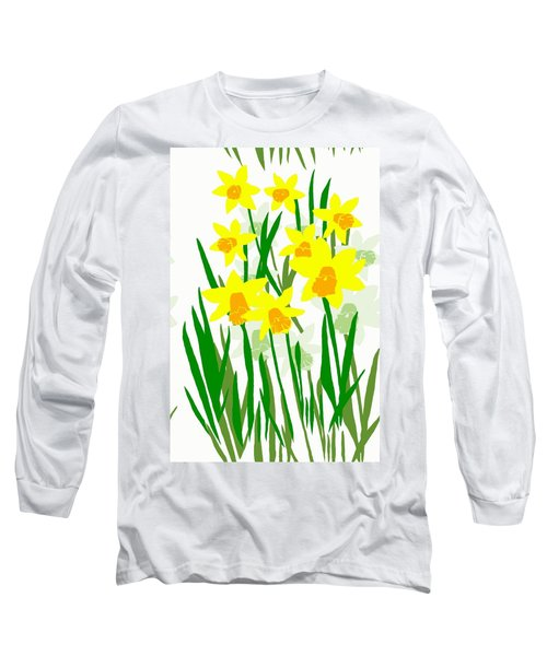 Long Sleeve T-Shirt featuring the digital art Daffodils Drawing by Barbara Moignard