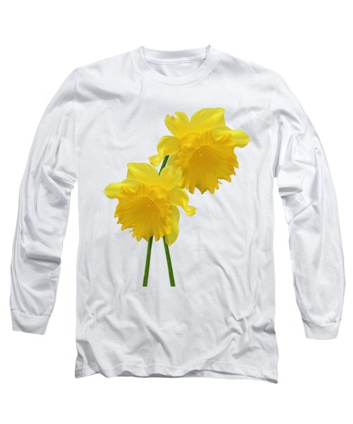 Daffodils On White Long Sleeve T-Shirt
