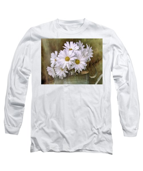 Long Sleeve T-Shirt featuring the photograph Daisies In Antique Watering Can by Bellesouth Studio