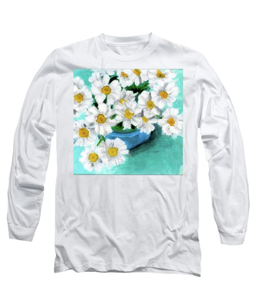 Daisies In Blue Bowl Long Sleeve T-Shirt