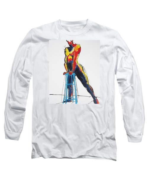 Long Sleeve T-Shirt featuring the painting Dancer With Drafting Stool by Shungaboy X