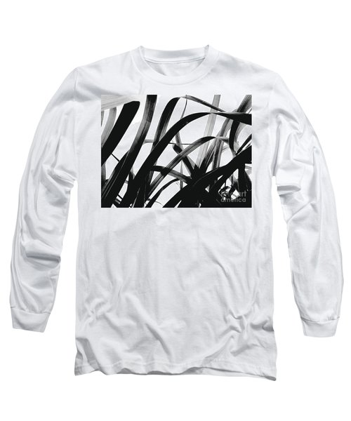Dancing Bamboo Black And White Long Sleeve T-Shirt by Rebecca Harman