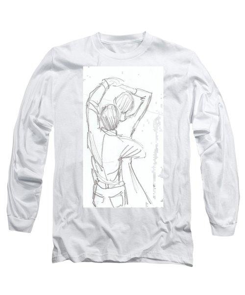 Dancing Couple Pencil Sketch Long Sleeve T-Shirt