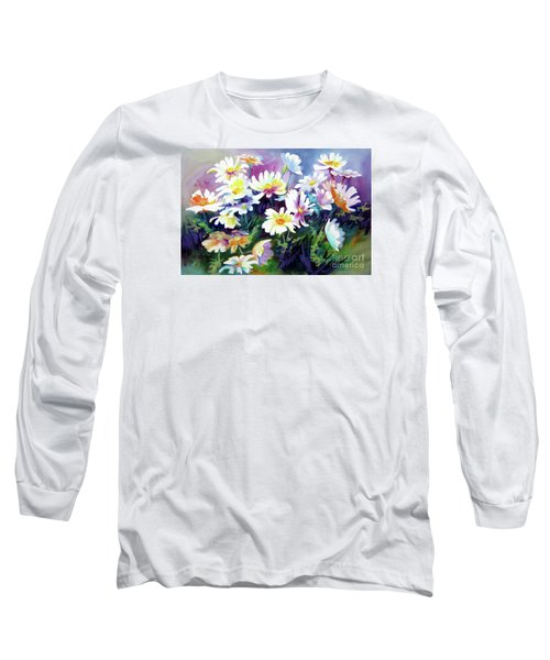 Long Sleeve T-Shirt featuring the painting Dancing Daisies by Kathy Braud
