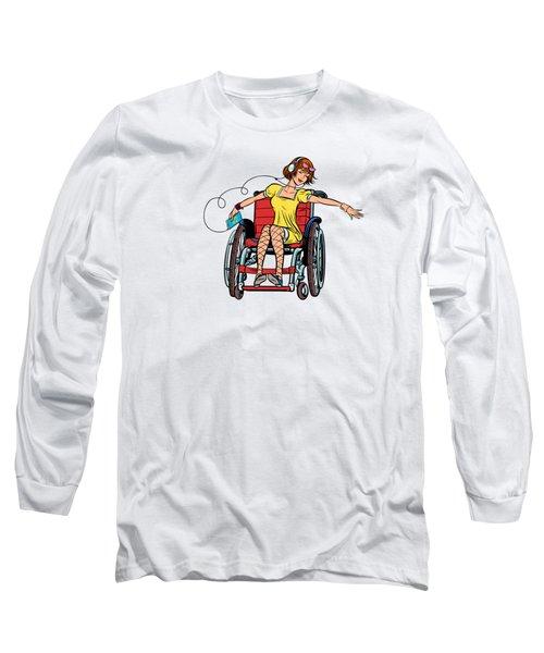 Dancing Girl In A Wheelchair Long Sleeve T-Shirt