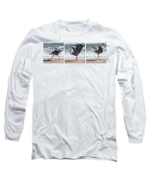 Dancing Heron Triptych Long Sleeve T-Shirt