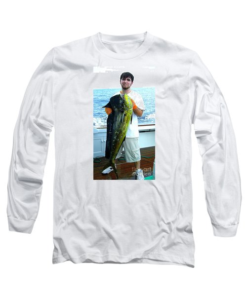 Danny Caught A Huge Dolphin Fish Long Sleeve T-Shirt by Merton Allen