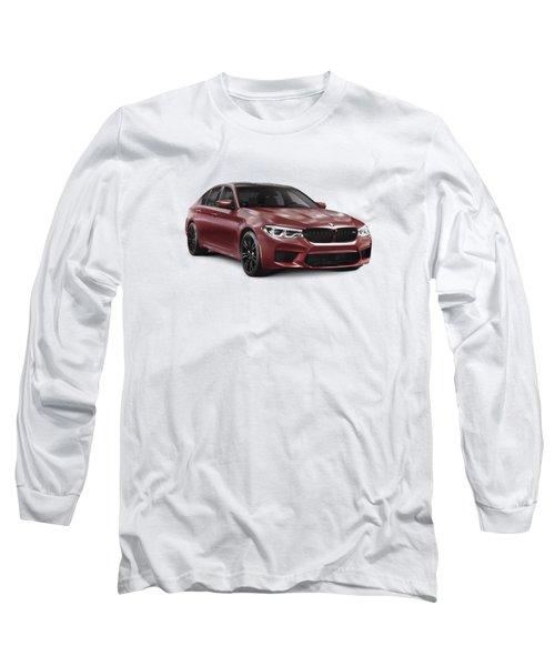 Dark Red 2018 Bmw M5 Performance Car Sport Sedan Art Photo Print Long Sleeve T-Shirt
