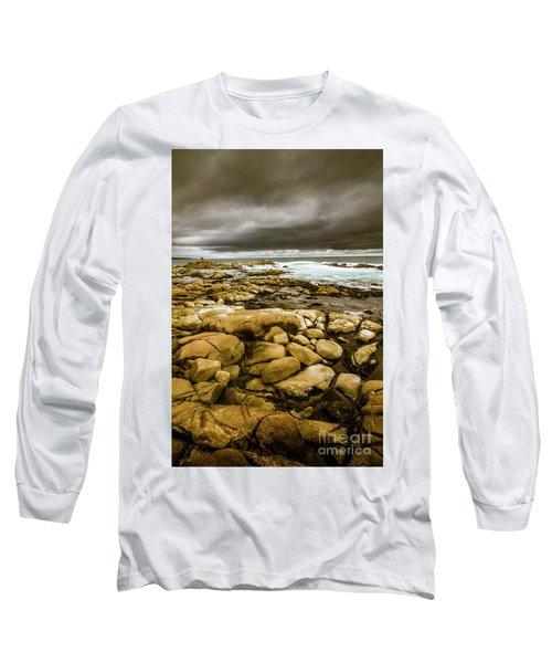 Dark Skies On Ocean Shores Long Sleeve T-Shirt